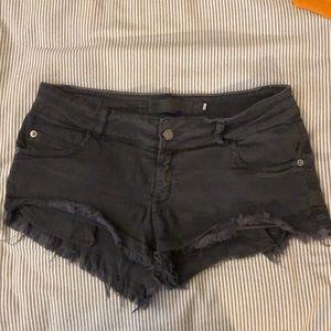 Brandy Melville Black Distressed Denim Shorts